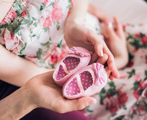 cute sweet female pink baby shoes