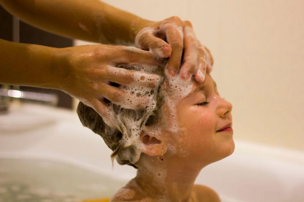 Baby Enjoying Hair-washing Session